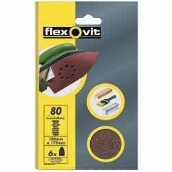 Flexovit Detail Sanding Sheets - 6 Pack (95 x 145mm) 80g (Me