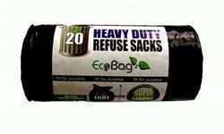 Ecobag Heavy Duty Refuse Sacks Black 20 x 100L