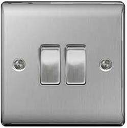 BG Brushed Steel 10ax Plate Switch 2way 2gang