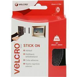 Velcro Stick On Tape 20mm x 2.5m Black