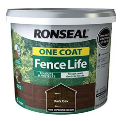 Ronseal One Coat Fence Life 12L Dark Oak
