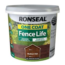 Ronseal One Coat Fence Life 12L Medium Oak