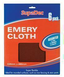 SupaDec Emery Cloth Pack 6 Assorted
