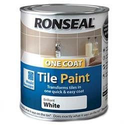 Ronseal One Coat Tile Paint 750ml White High Gloss
