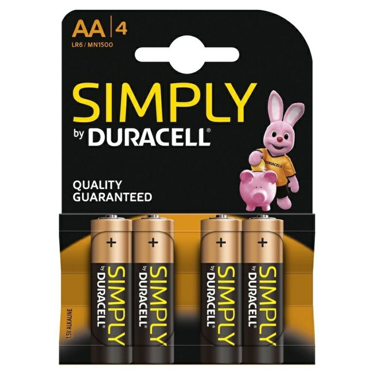 Duracell Simply AA Batteries Pack 4
